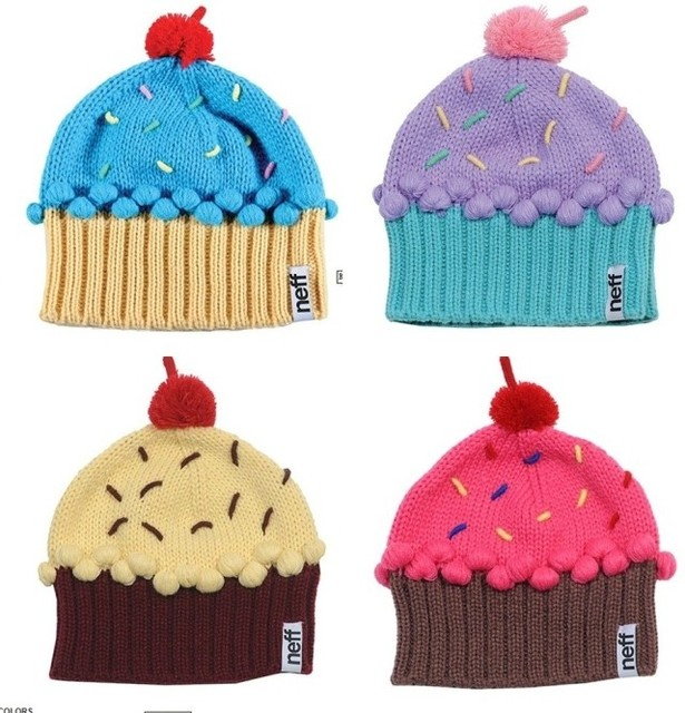 Free shipping Neff handmade embroidery knitted women s ball cap cake ice cream  knitted hat beanies 46609be1039