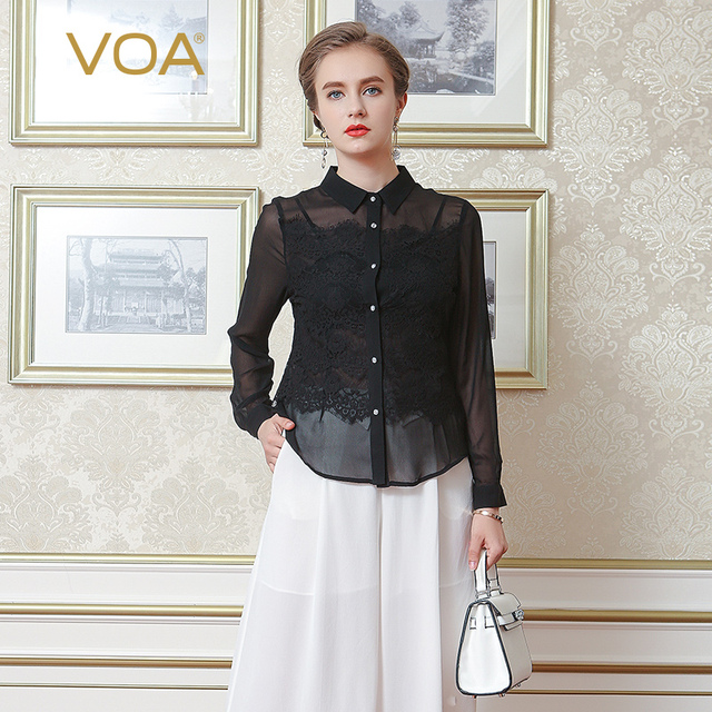 c23f01da VOA Streetwear Long Sleeved Silk Shirts Female Lace Stitching Blouse B1070  Lapel Temperament
