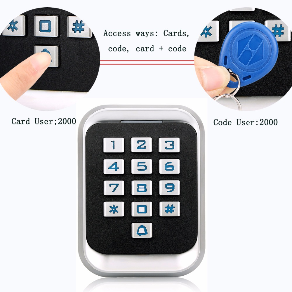 Metal RFID ID Keypad Single Door Stand-alone Access Control & Wiegand 26 bit I/O 2000 User's Cards/Cords Waterproof IP68 F1417D metal rfid em card reader ip68 waterproof metal standalone door lock access control system with keypad 2000 card users capacity
