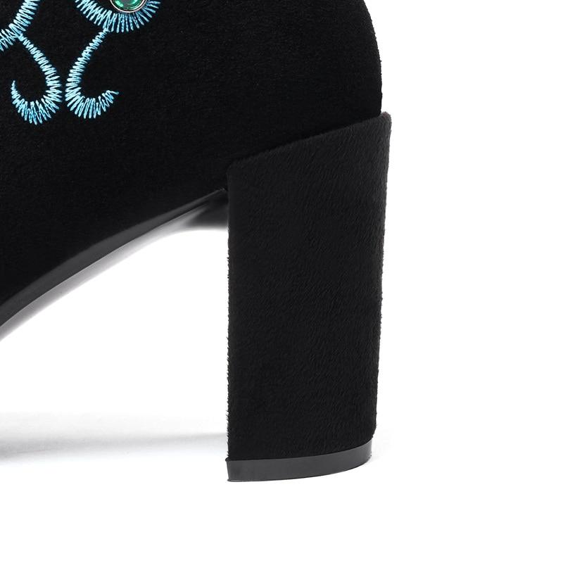 Femme Zipper Chaussures Sexy Haute Talons Robe Brodent Partie Facndinll Black Nouvelle Bottines Bottes Marque Pointu Bout Femmes Courtes Noir SwxOIPfq