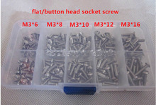 Flat/Button Socket Hex Socket Screw M3 Qty 100pcs in Box M3*6 TO M3*16mm SUS304(China (Mainland))