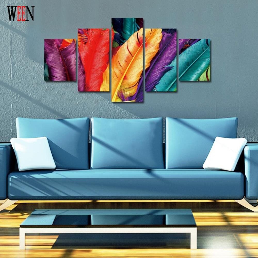 Piume colorate Su Tela Con Cornice Direatly Handed Quadri Moderni ...