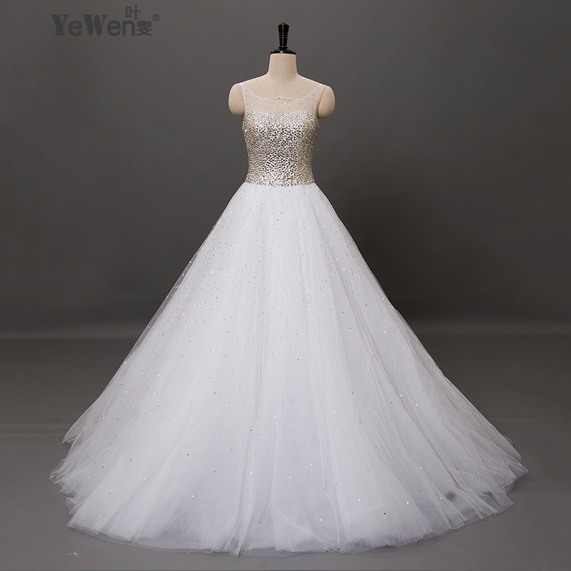 In Stock Size 4-6 Princess Bling Luxury Crystals White Wedding Dress Gown 2016 Bridal Wedding Gown Vestido De Noiva