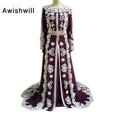 100% Real Photo Moroccan Kaftan Dress Long Sleeves Beaded Lace Chiffon Women Elegant Evening Dresses Muslim Arabic Party Dress