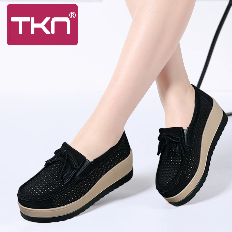spring women platform shoes   leather     suede   plush slip on sneakers chaussure femme tassel fringe loafers moccasins women shoes 912