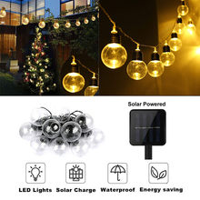 New 2018 High Quality LED Solar Powered String Light Bulb String Lamp Beads Wedding Fairy Decor Lighting Drop Shipping(China)