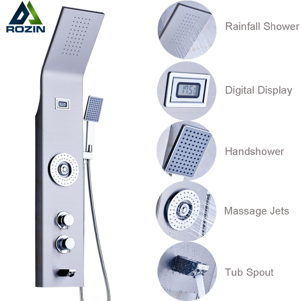 Brushed Nickel Wall Hanger Shower Column Single Handle Body Massage Jets Rain Waterfall Shower Panel with Handshower