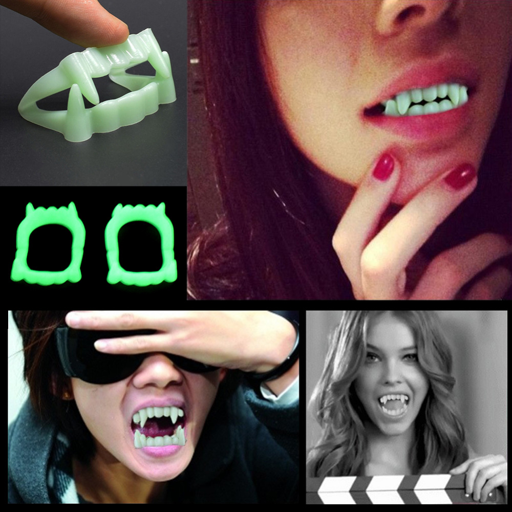1 PC Vampire Fake Teeth Luminous Glow In The Dark Gag Terrorist Toy For Halloween Party Cosplay Props For 5Y+ People Gag Toys