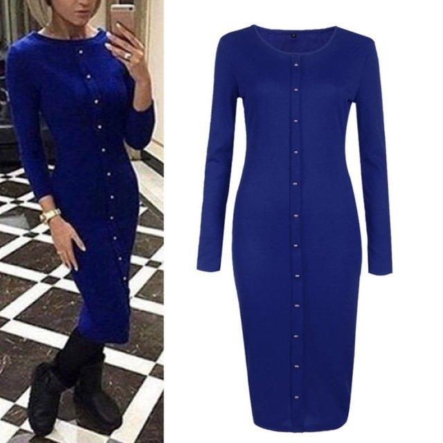 2016 Autumn Dress Knitted Dresses Knee-Length Long Sleeve Blue Long Dresses Slim Winter Office Dress Robes Vestidos
