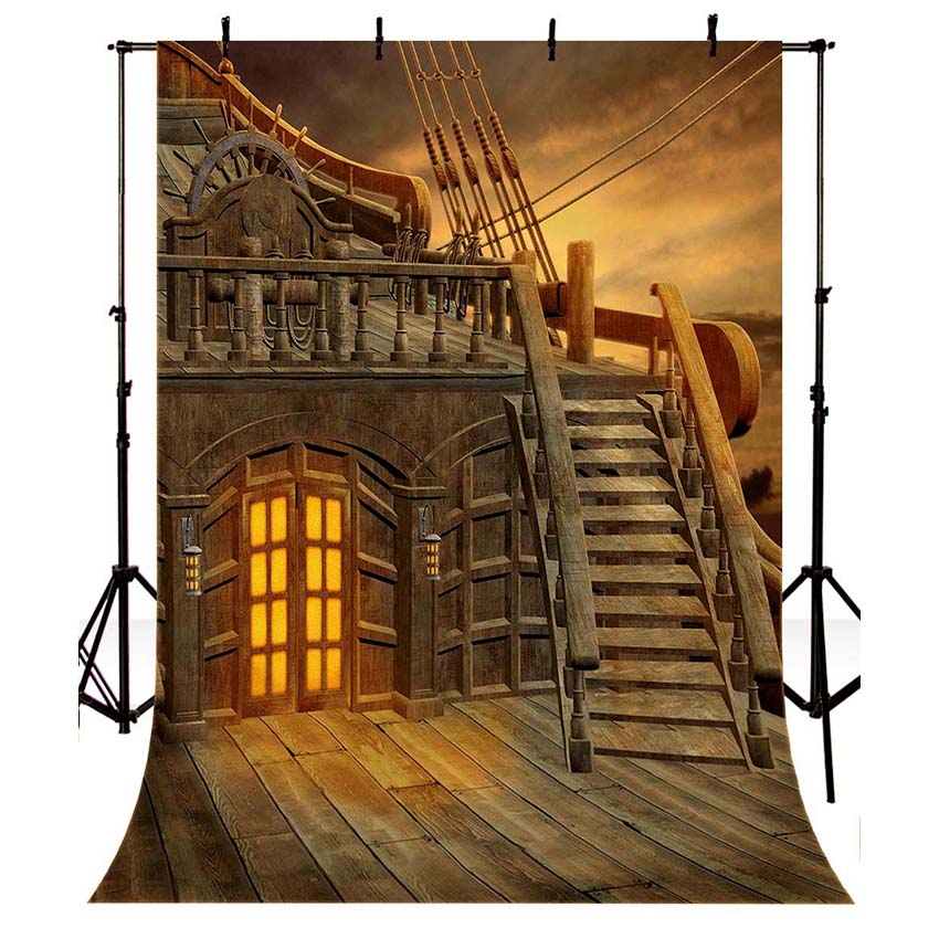 MEHOFOTO Photography Backdrops Wood Pirates Ship Caribbean Party Backdrop Children Photo Background Studio Props Vinyl S-2661 merry christmas santa claus diy wall stickers glass showcase decor