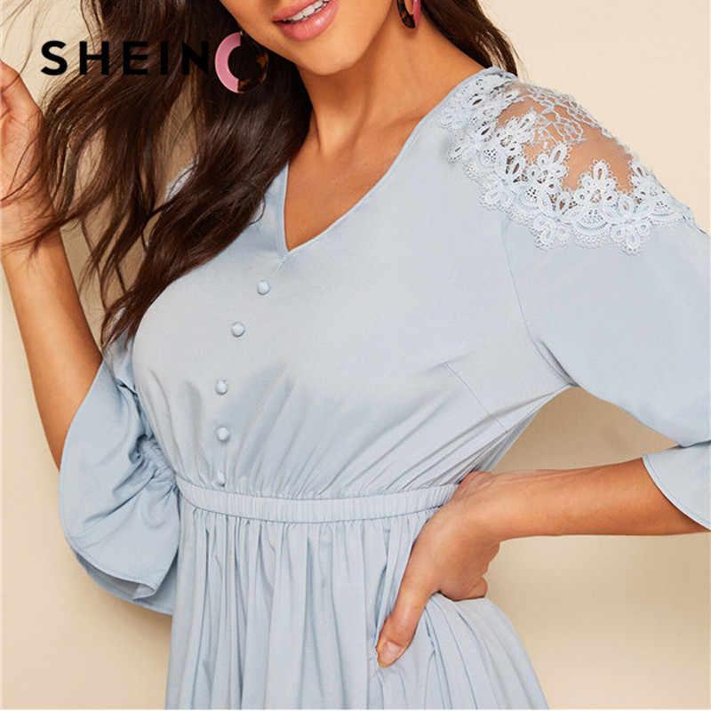 SHEIN синего цвета с открытым плечём и с эластичной резинкой на талии длинное платье Для женщин элегантное платье с v-образным вырезом с коротким рукавом летнее платье 2019 Твердые Высокая талия платья