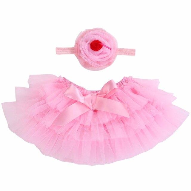 Красочные кружева Infantil юбка-пачка для малышей Подставки для фотографий; Лук рюшами для новорожденных юбка повязка на голову для маленьких девочек одежда бальное