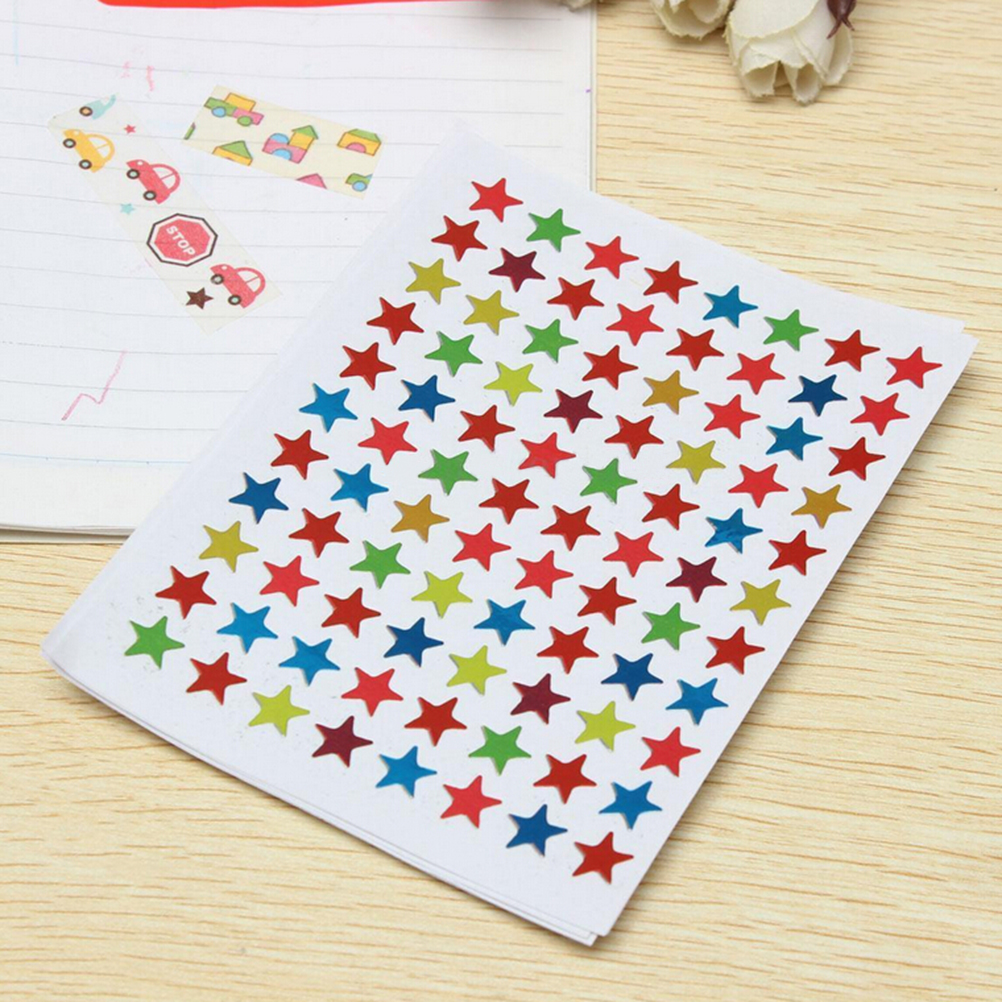 10 Sheets Colorful Seal Cute Five-pointed Star Decoration Scrapbooking Paper Stickers Stationery School Office Supplies126x97mm