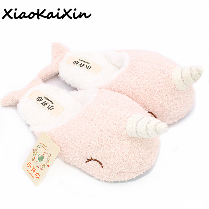 Pantuflas Mujer Mulher Chinelo Donna Pantofole Animal Winter Soft Bottom Indoor Plush Home Unicorn Slippers Narwhal Shape Shoes plush striped winter slippers mixed colors pantuflas soft floor indoor pantufas household couples home shoes floor pantofole hot