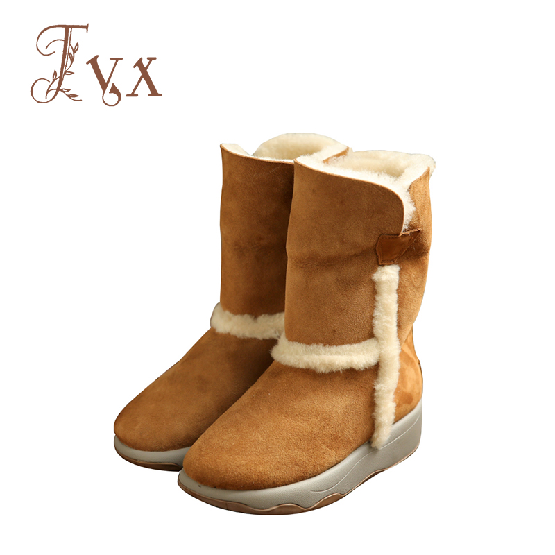 Tayunxing genuine leather women handmade shoes slip-on snow boots mid-calf shearling wedges platform comfort warm winter SF001 hot genuine leather women artificial rabbit fur snow boots high platform ladies wedges heels mid calf boots suede rivets shoes