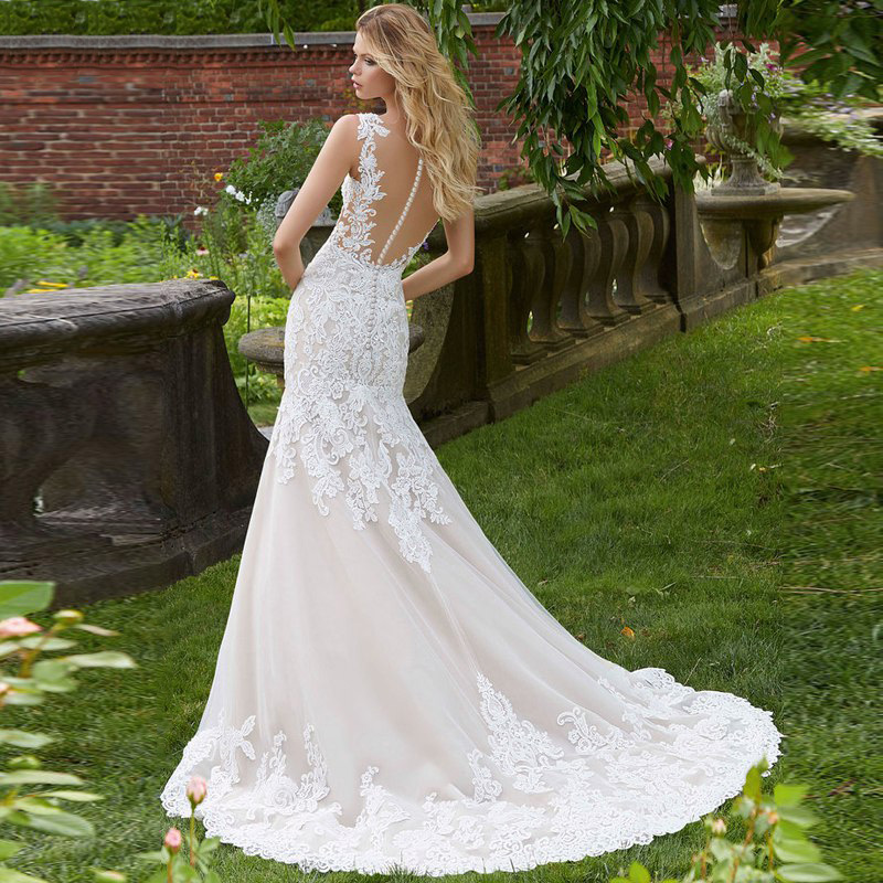 Eightree Vintage Mermaid Wedding Dress Appliques Sleeveless Illusion Mariage vestidos de novia 2019 Lace Wedding Bridal Gown in Wedding Dresses from Weddings Events