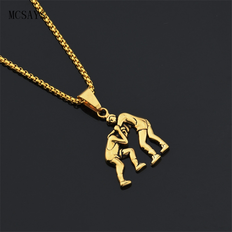 Mcsays stainless steel punk necklace wrestling fighting men pendant box chain sliver gold color necklace biker