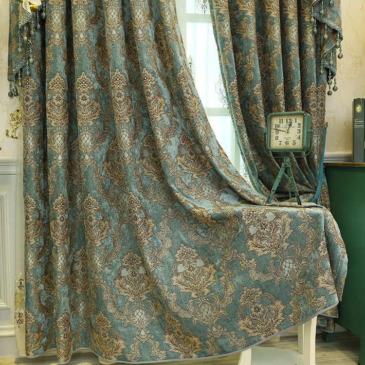 Direct Sales of European-style Shernier Jacquard Living Room Bedroom Curtains Wholesale and Retail Double Curtain Cloth