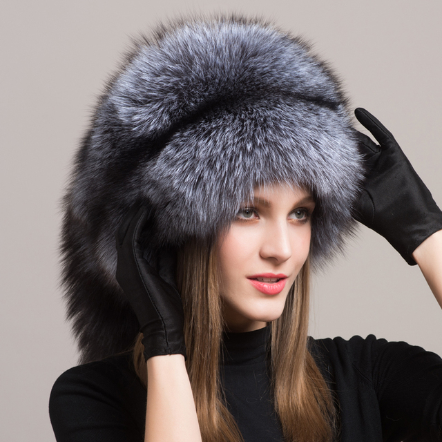 4643263b57a8a Winter Luxury Fluffy Real Fox Winter Hats For Women Fashion Bombers Genuine  Fur Trapper Soft Fox Fur Cap Russian Style Fur Hat