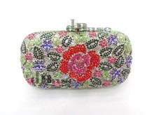 A6158d кристалл роза цветочный цветок леди свадебные ну вечеринку ночь полые металл вечернее портмоне сумочка сцепление мешок