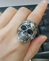 Individual men skull and head opening ring S925 pure silver antique style punk. Hip hop style arbitrary matching style fashion