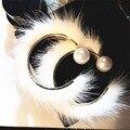 2017 Мода Новые 60 ММ Реального Норки Обруч Серьги Жемчуг передняя Задняя Реверсивный Серьги Круг для Женщин Зима Brincos 4 цвета