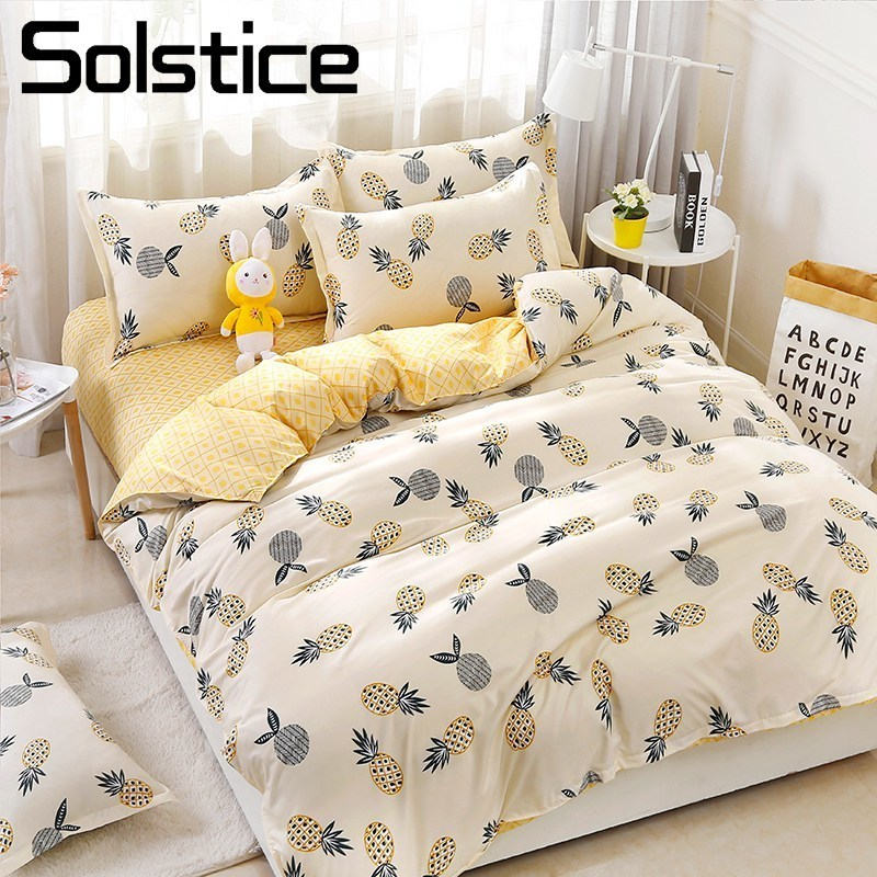 Solstice Home Textile Pineapple Yellow Duvet Cover Pillowcase Sheet King Queen Twin Full Girl Kid Teen Bedding Linens Set 3/4Pcs