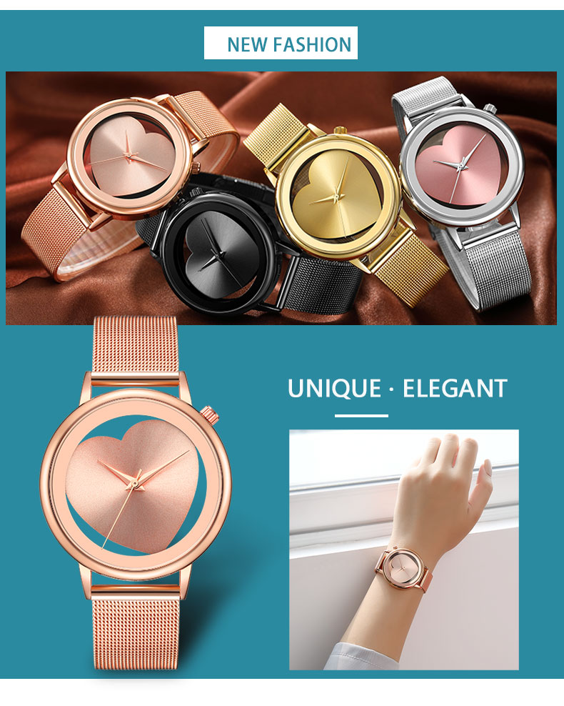 Women Watches Quartz Hollow Analog Stainless Steel Mesh Band Rose Gold Luxury Brand Design Wristwatch Fashion Dress New 9