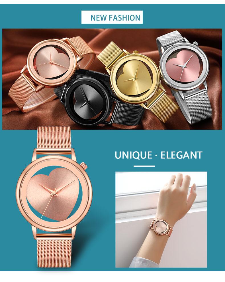 Women Watches Quartz Hollow Analog Stainless Steel Mesh Band Rose Gold Luxury Brand Design Wristwatch Fashion Dress New 9
