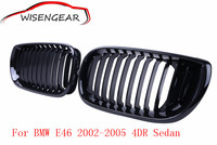 2pcs High Quality ABS Gloss Black Front Kidney Racing Grilles Grills For BMW E46 4 Door