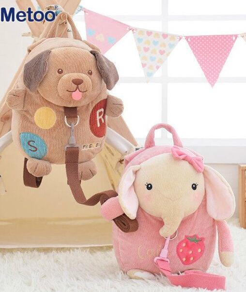 Presente para o bebê 1 pc 30 cm elefante dos desenhos animados metoo coelho cão perdeu lanche saco menina mochilas Satchel moeda de pelúcia bolsa de ombro brinquedo