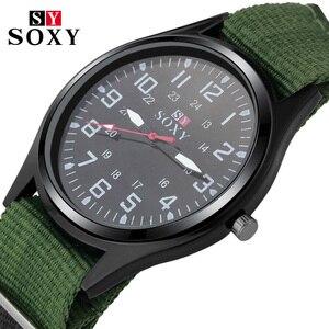 Fashion Nylon Watch Men Brand New SOXY Men's Sport Quartz Wrist Military Watches Slim Analog Masculine Hot shark style relojes