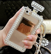 Diamond Crystal Cute Pearl Perfume Bottle Shaped Chain Handbag Case Cover for iPhone4S 5S 6/6PLUS 7/7PLUS