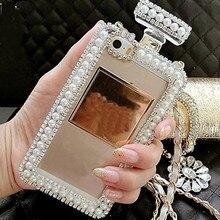 Elmas Kristal Sevimli Inci Parfüm Şişesi Şekilli Zincir Çanta Kılıf Kapak için iPhone X XS MAX XR 4 S 5 S 6 6 ARTı 7 7 ARTı 8 8 ...