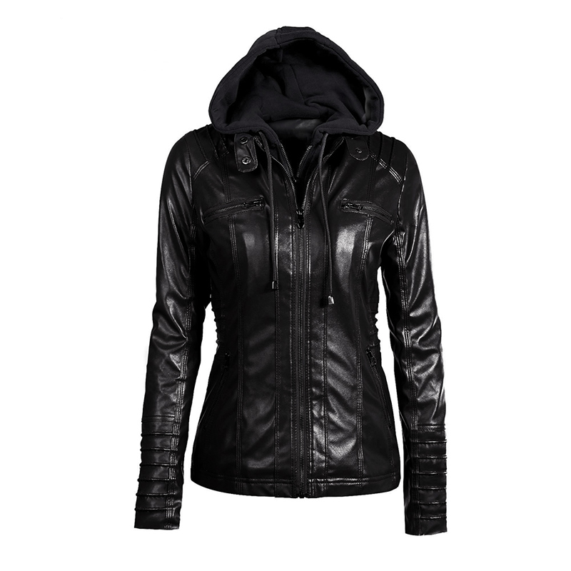 Plusee Plus Size Gothic faux   leather   XS-7XL coats women hoodies winter autumn motorcycle jacket black outerwear PU Jacket coat