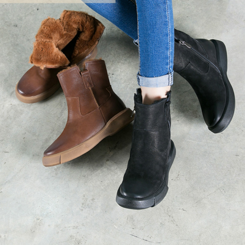 2017 Winter Genuine Leather Women Ankle Boots Sheep Fur Insole Warm Plush Snow Boots Set Foot Thermal Chelsea Boots Handmade