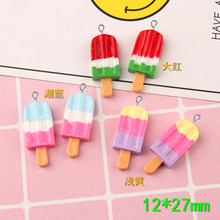10pcs 12*27mm DIY Resin Ice cream popsicle charms flatback cabochon sticker kawaii craft jewelry making ornament decoration(China)