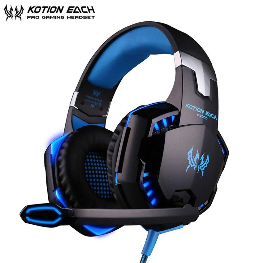 KOTION cada G2000 casque Gaming auriculares mejor PC Gamer auriculares estéreo con micrófono de luces LED para el ordenador/portátil