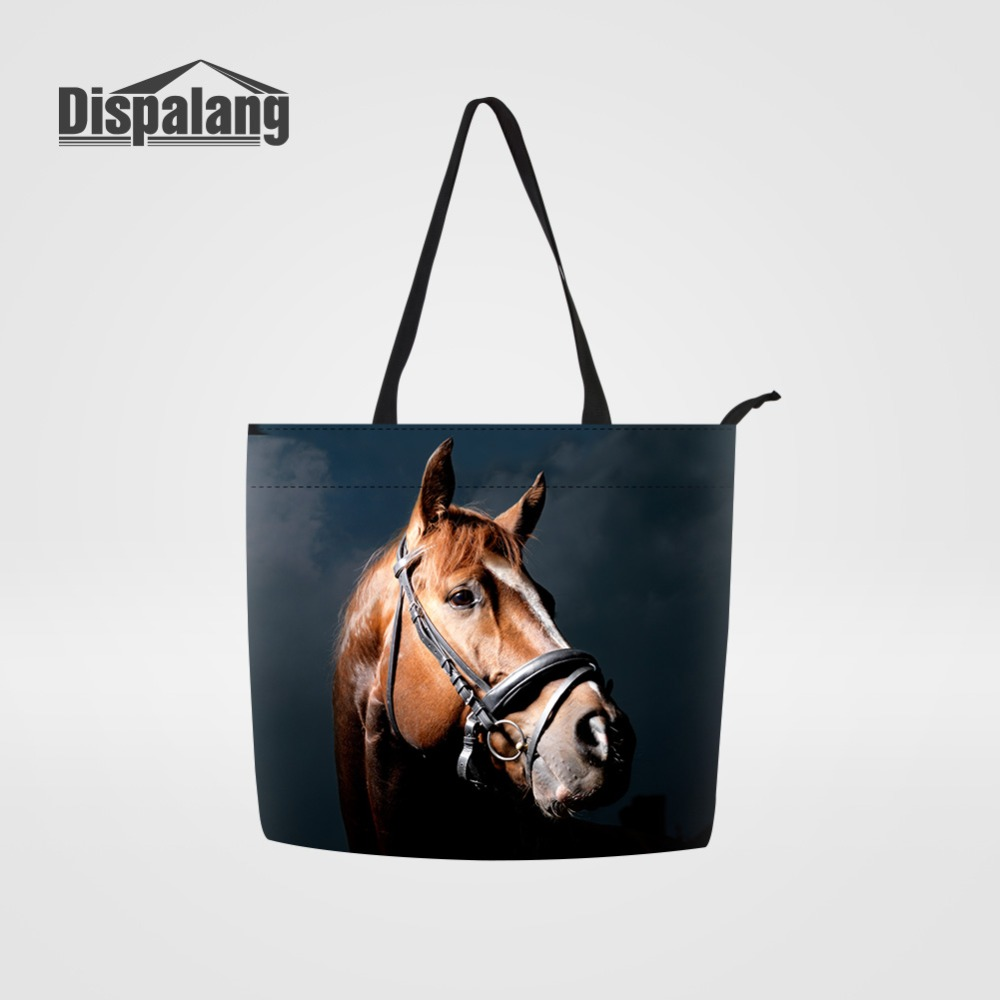 Dispalang Brown Horse Cotton Grocery Tote Shopping Bags Multifunctional Reusable Shopper Bag Women's Shopping Handbags Storage
