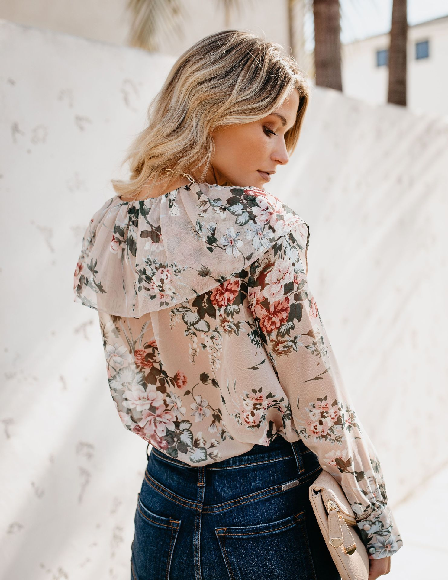 blouse new women leisure printing peony splicing long sleeves tops gothic blouses harajuku  korean fashion clothing pink shirt