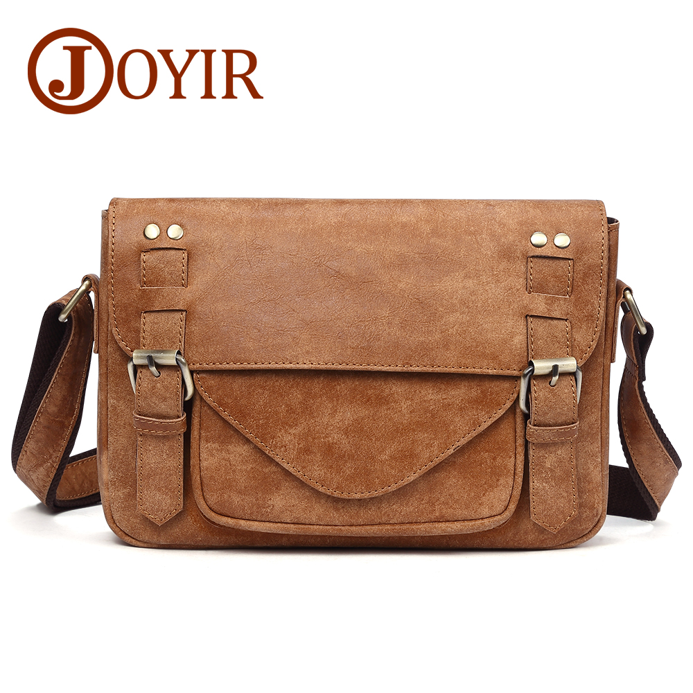 JOYIR 2019 Casual Genuine Leather Crossbody Bag Vintage Men Messenger Bag Travel Shoulder Bag Boys School