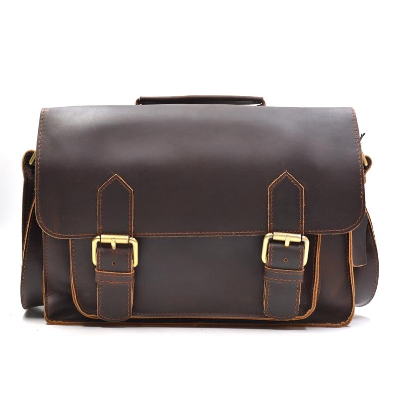 New Retro Oil Wax&Crazy Horse Genuine Leather Men's Classic Messenger Shoulder Bags Leisure Zipper Travel Street Trend Bag