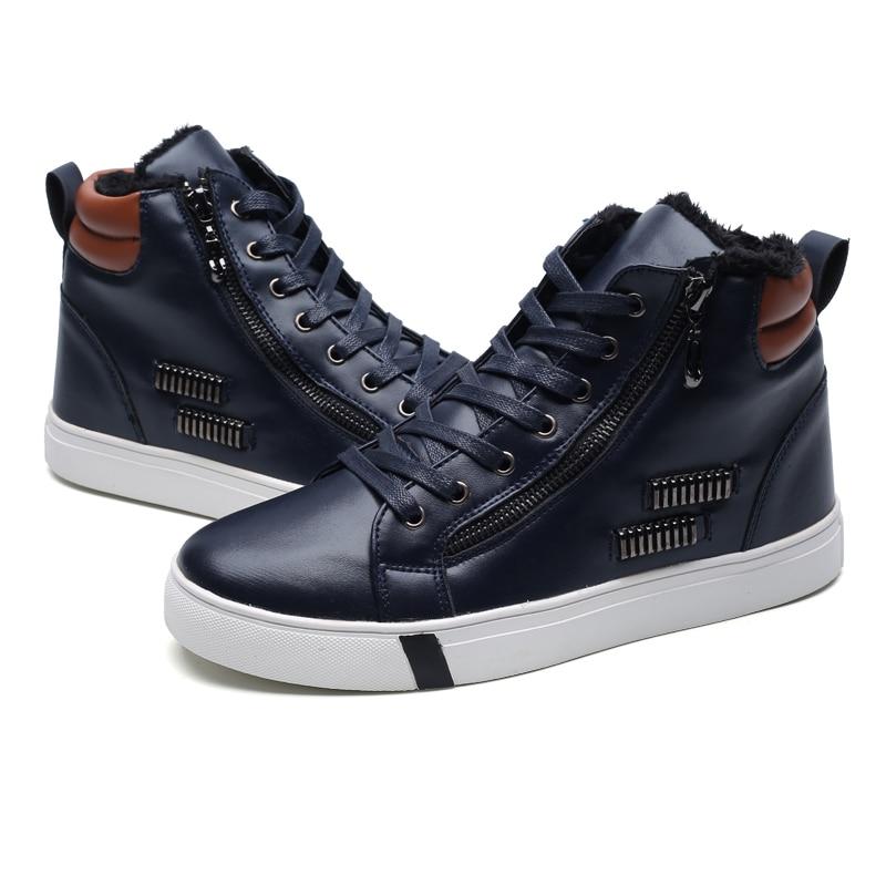 Bottes brown Mivnskve En High Hommes Chaussures Fourrure Mode Top Hot Chaud Imperméables De New Casual Cuir D'hiver Neige blue Black PqwgPzrU