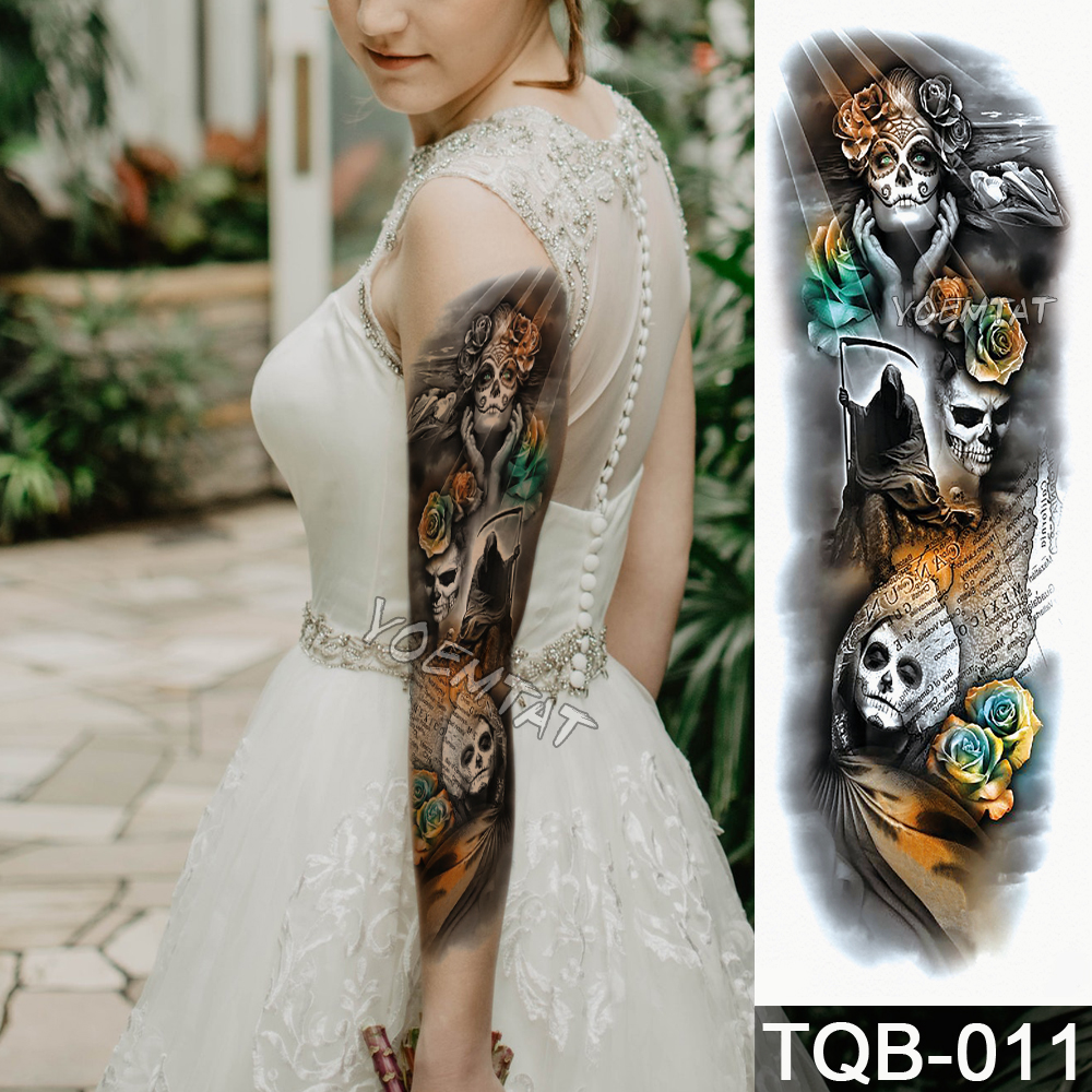Temporary Tattoo Sticker Yellow green skull roses pattern Full Flower Tattoo with Arm 1