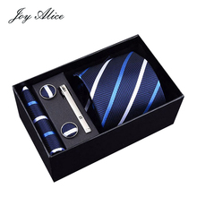 8cm Mens Ties New Man striped Neckties Corbatas Gravata Jacquard Tie Handkerchief&Cufflinks, Clip Set For Men Gift Box