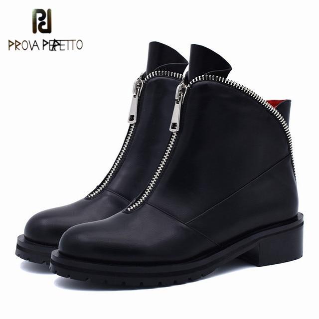 Rond Qualité Perfetto Avant Hiver Plus Confortable Bottes Noir Chunky Talons Femmes Prova Chaussures Zipper Mode Bout Automne Haute Cheville 5j4RLA