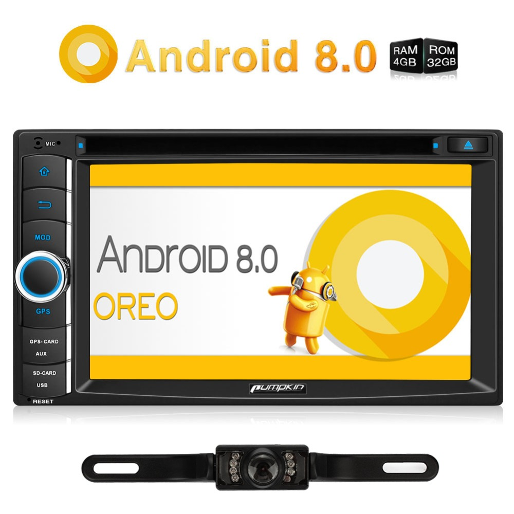 Pumpkin 2 Din 6.2''Android 8.0 Universal Car Radio DVD Player GPS Navigation Qcta-Core 4GB RAM Car Stereo With Rear View Camera дрель шуруповерт ударная redverg rd id850s