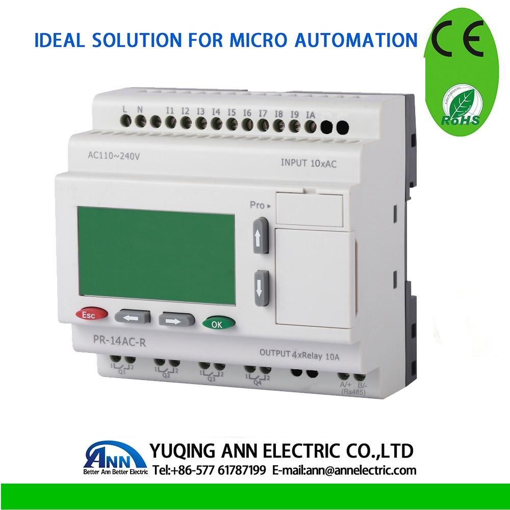 PR 14AC R с ЖК дисплеем, без кабеля, AC 110 ~ 240 В, 10 DI, 4 реле выхода, смарт реле, контроллер микро pplc, CE ROHS