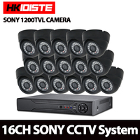 HKIXDISTE AHD CCTV System 16CH AHD 1080N CCTV DVR Kit HDMI 1080P SONY 1200TVL IR Cameras