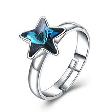 Austria 925 Sterling Silver Sapphire Ring Opening-Adjustable Bizuteria Five Stars Geometric Gemstone Anillos De Ring for Women vintage alloy faux sapphire geometric ring for women